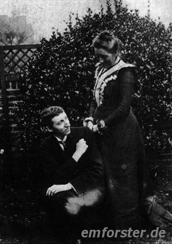 The photograph, taken 1902 (?), shows Forster together with his mother at Werter Road, Putney.Source: King's College, Cambridge. Ref. EMF/27/249